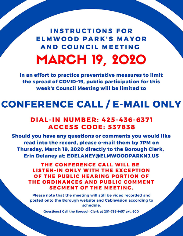 Instructions for March 19, 2020 Mayor & Council Meeting