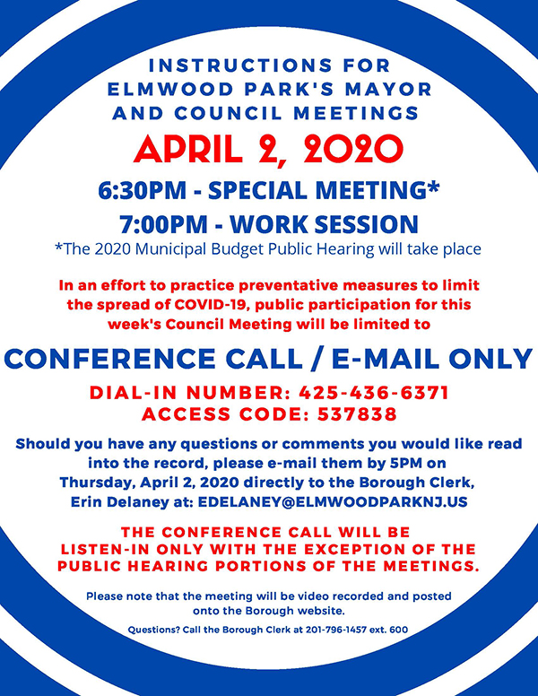 Instructions for April 2, 2020 Mayor & Council Meeting