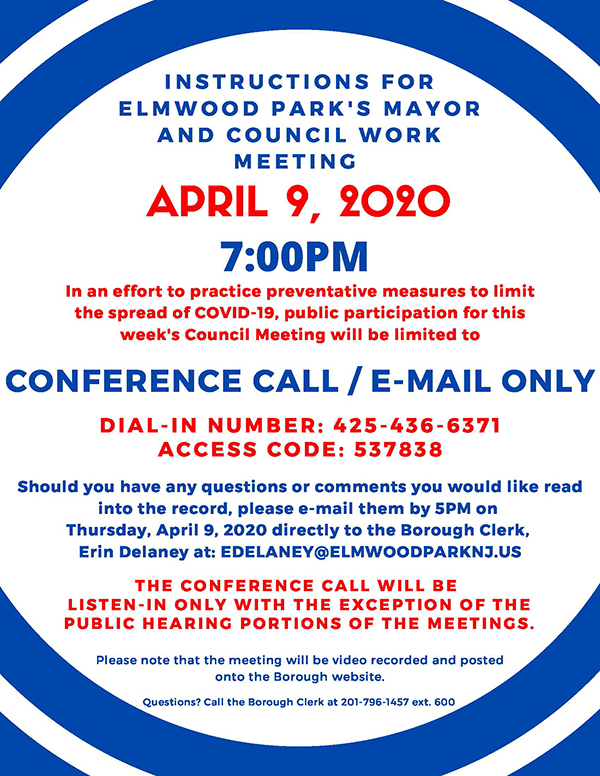 instructions for April 9, 2020 meeting