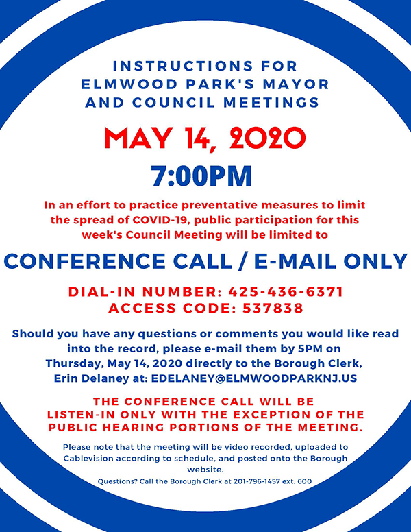 instructions for May 14, 2020 Mayor and Council meeting