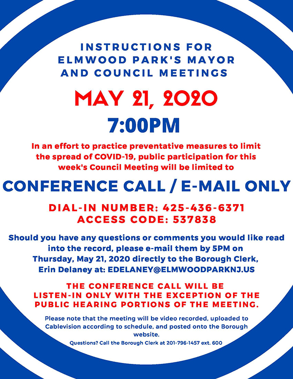 instructions for 5/21/20 Mayor & Council meeting