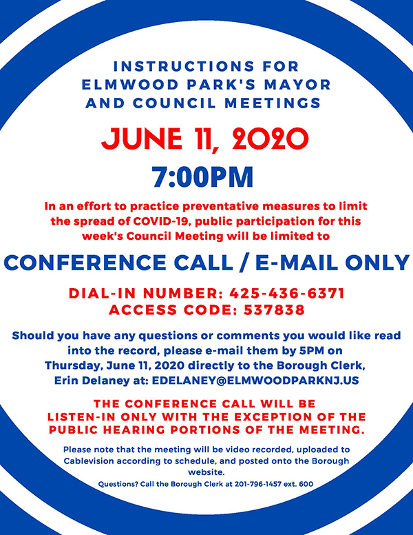 instructions for 6/11/20 Mayor & Council meeting