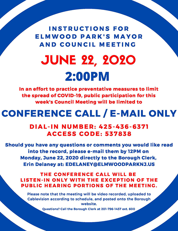 instructions for 6/22/20 Mayor & Council special meeting