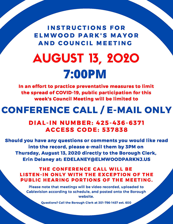 instructions for 8/13/20 Mayor & Council meeting